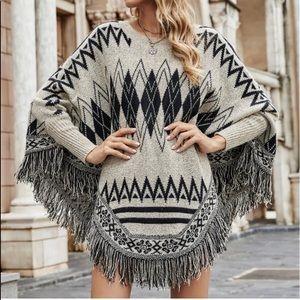 Print Fringe Maxi Cuff Poncho Sweater